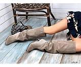 Демисезонные сапоги без молнии на небольшом каблуке, фото 2