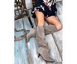 Демисезонные сапоги без молнии на небольшом каблуке, фото 3