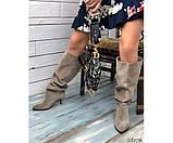 Демисезонные сапоги без молнии на небольшом каблуке, фото 4