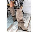 Демисезонные сапоги без молнии на небольшом каблуке, фото 5