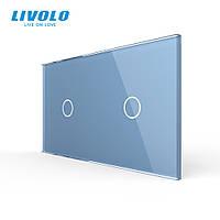 Сенсорная панель выключателя Livolo 2 канала (1-1) голубой стекло (VL-C7-C1/C1-19), фото 1