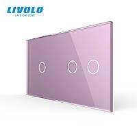 Сенсорна панель вимикача Livolo 3 канали (1-2) рожевий скло (VL-C7-C1/C2-17), фото 1