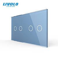 Сенсорная панель выключателя Livolo 4 канала (2-2) голубой стекло (VL-C7-C2/C2-19), фото 1