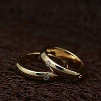 Венчальные парные кольца с цирконием позолота розовое золото 750 проба