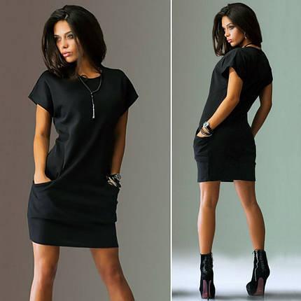 Платье летнее мини черное свободное повседневное, фото 2