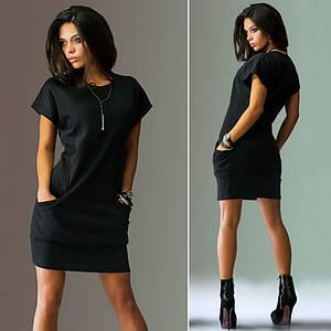Платье летнее мини черное свободное повседневное