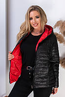 Женская двусторонняя куртка с капюшоном 185 БАТАЛ красный +черный