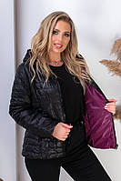 Женская двусторонняя куртка с капюшоном арт. 185 БАТАЛ марсала+черный