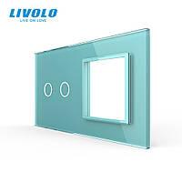 Сенсорна панель вимикача Livolo 2 каналу і розетки (2-0) зелений скло (VL-C7-C2/SR-18), фото 1