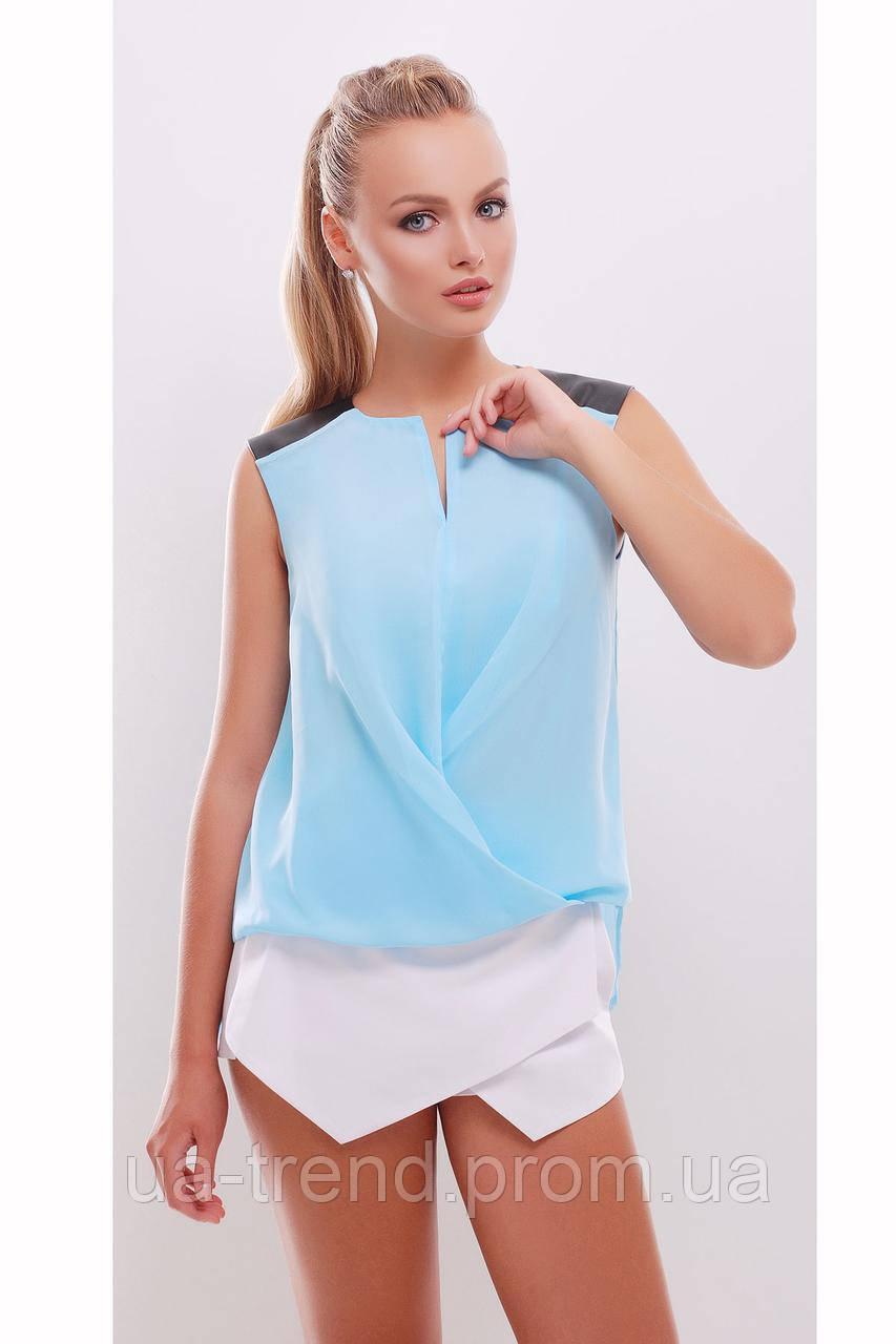 Голубая шифоновая блузка