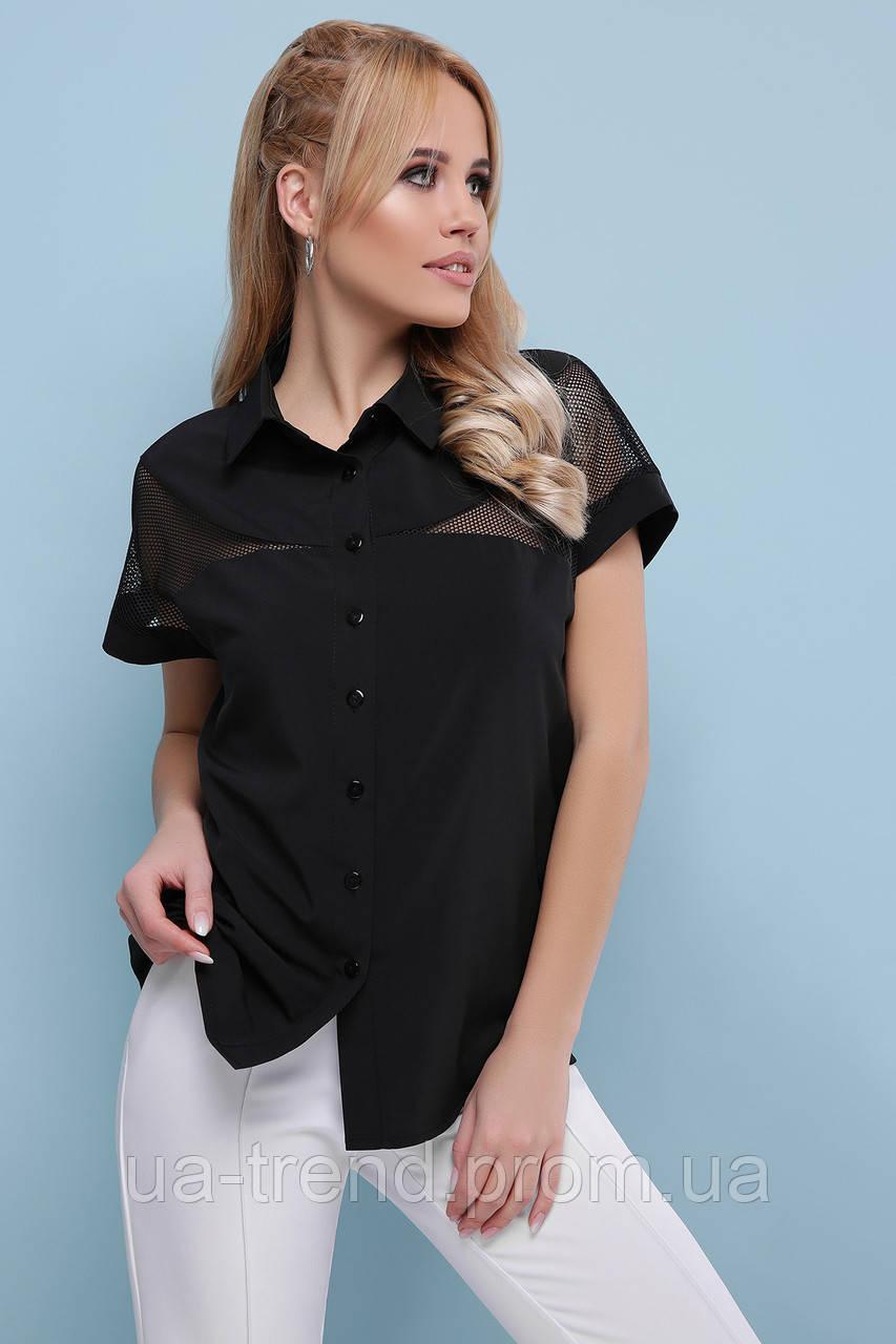 Женская черная блуза с коротким рукавом