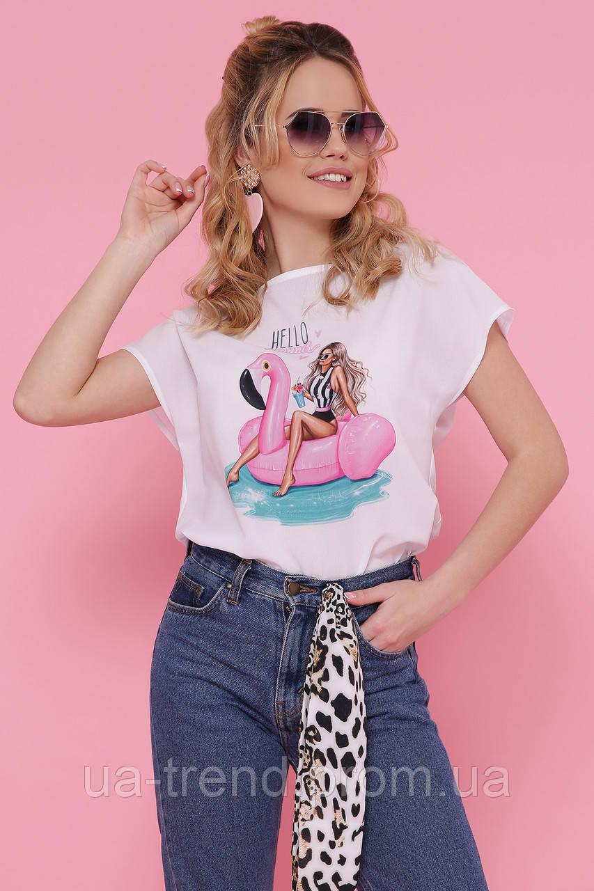 Белая футболка из шифона с фламинго