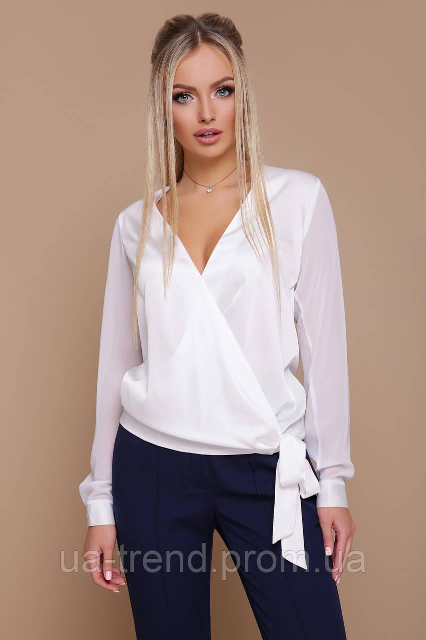 Женская белая блуза на запах