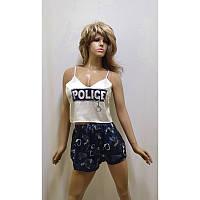 Пижамы весенние и летние женские шорты + майка шелк 'police'