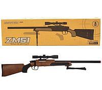 Автомат снайперская винтовка детский CYMA ZM51W с пульками и прицелом