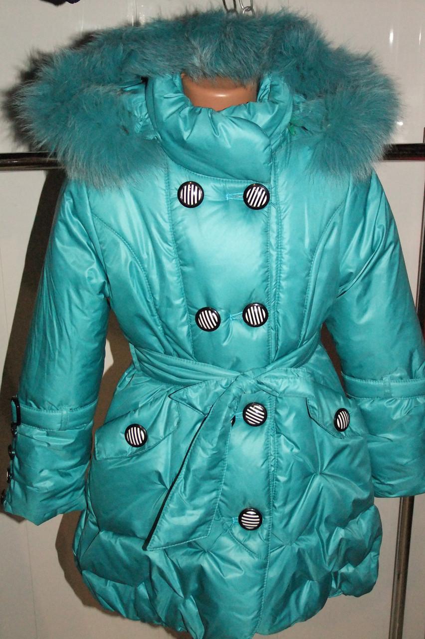 Зимнее пальто на девочку 34 размер бирюзовое.