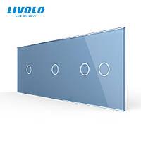 Сенсорная панель выключателя Livolo 4 канала (1-1-2) голубой стекло (VL-C7-C1/C1/C2-19), фото 1