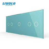 Сенсорная панель выключателя Livolo 5 каналов (2-1-2) зеленый стекло (VL-C7-C2/C1/C2-18), фото 1