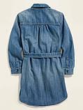 Стильное джинсовое платье-рубашка Олд Неви для девочки, фото 2