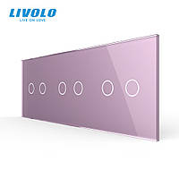 Сенсорная панель выключателя Livolo 6 каналов (2-2-2) розовый стекло (VL-C7-C2/C2/C2/-17), фото 1