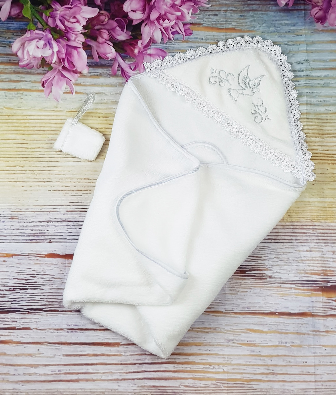 Крыжма махровая с уголком для Крещения детская с мешочком для волос