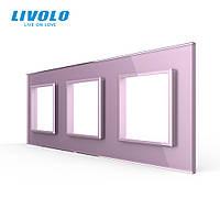 Рамка розетки Livolo 3 поста рожевий скло (VL-C7-SR/SR/SR-17), фото 1