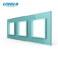 Рамка розетки Livolo 3 поста зелене скло (VL-C7-SR/SR/SR-18), фото 1
