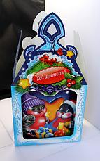 Упаковка праздничная новогодняя из картона Весёлые Птички, на вес до 600г, опт, фото 3