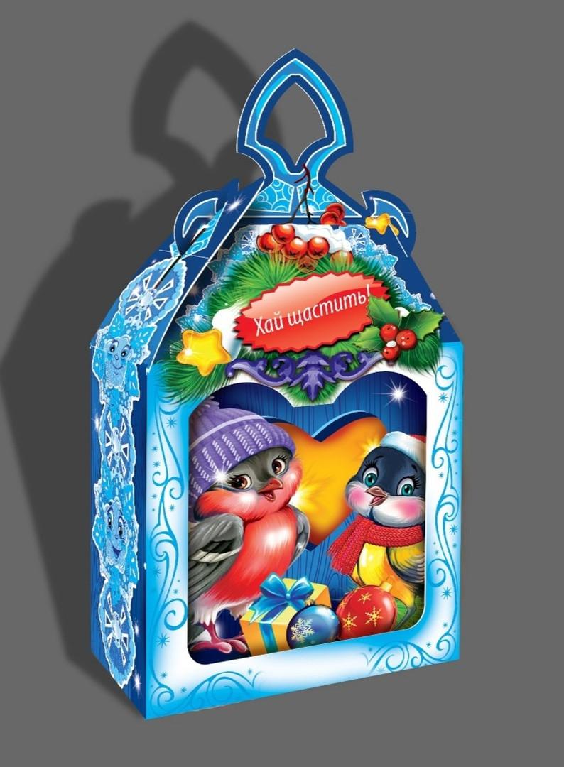 Упаковка праздничная новогодняя из картона Весёлые Птички, на вес до 600г, опт