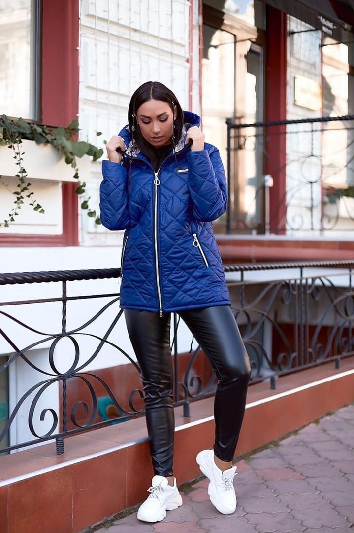 """Стеганая женская демисезонная куртка """"ORIENT"""" с капюшоном (большие размеры)"""