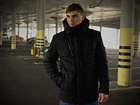 Мужская длинная зимняя куртка-парка черного цвета