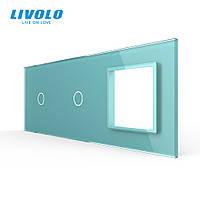 Сенсорная панель выключателя Livolo 2 канала и розетку (1-1-0) зеленый стекло (VL-C7-C1/C1/SR-18), фото 1