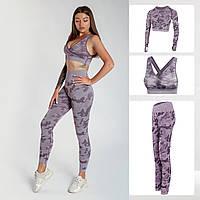 Спортивный костюм женский для фитне 3в1 Леггинсы Лосины для спорта Спортивный топ Одежда для фитнеса