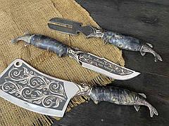 """Эксклюзивный подарок рыбаку на юбилей """"По-щучьему велению"""" с авторскими шампурами, чарками, ножом и секачом, фото 3"""