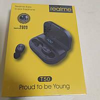 Беспроводные наушники Realme T50 TWS чёрные c функцией power bank (2000 mAh)