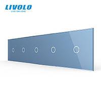 Сенсорная панель выключателя Livolo 5 каналов (1-1-1-1-1) голубой стекло (VL-C7-C1/C1/C1/C1/C1-19), фото 1