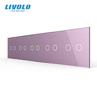 Сенсорная панель выключателя Livolo 10 каналов (2-2-2-2-2) розовый стекло (VL-C7-C2/C2/C2/C2/C2-17), фото 1