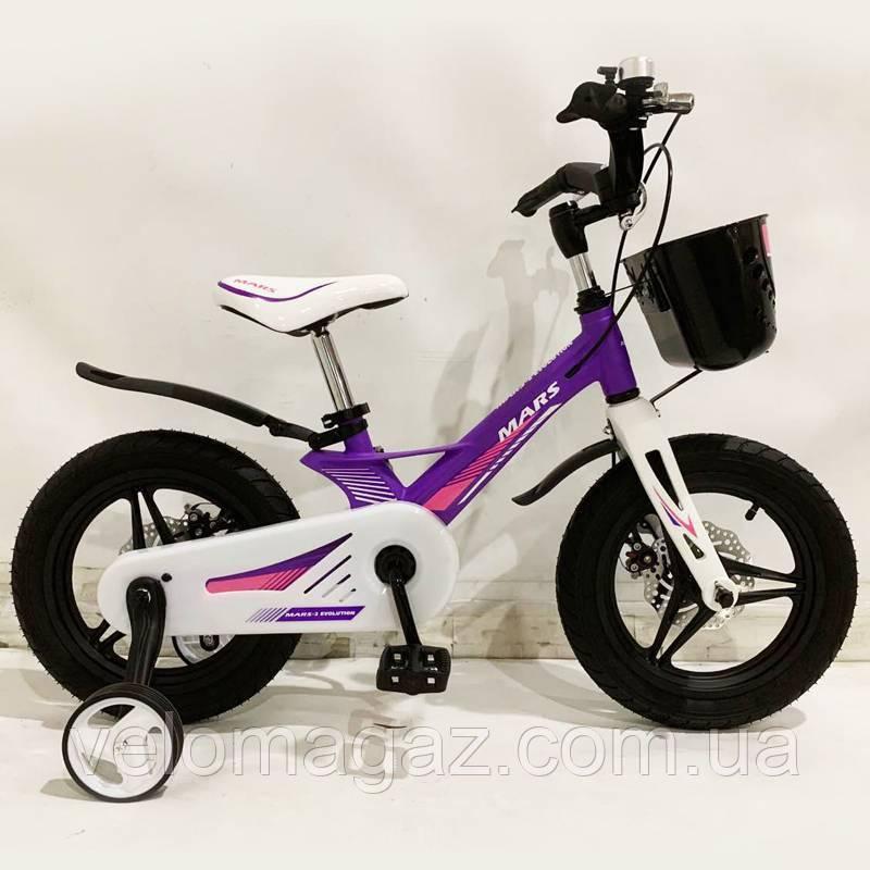 """Дитячий велосипед SIGMA MARS-14"""", дисковий гальмо, кошик, фіолетовий"""