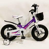 """Дитячий велосипед SIGMA MARS-14"""", дисковий гальмо, кошик, фіолетовий, фото 1"""