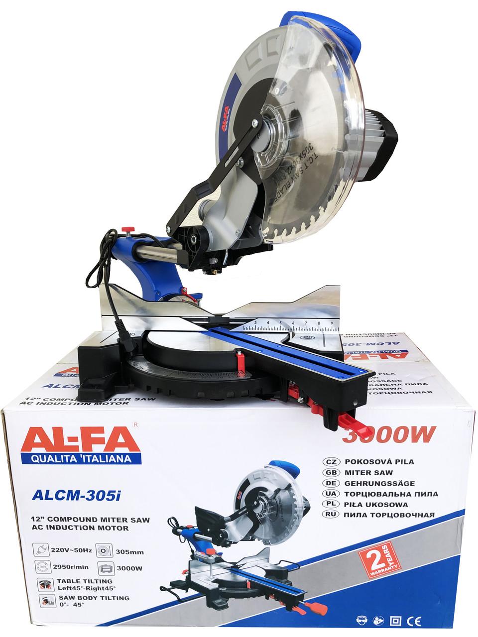Торцовочная пила с асинхронным двигателем и протяжкой AL-FA ALCM-305i