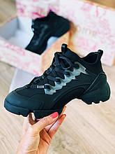 Женские кроссовки в стиле Dior D-connect Black, Диор