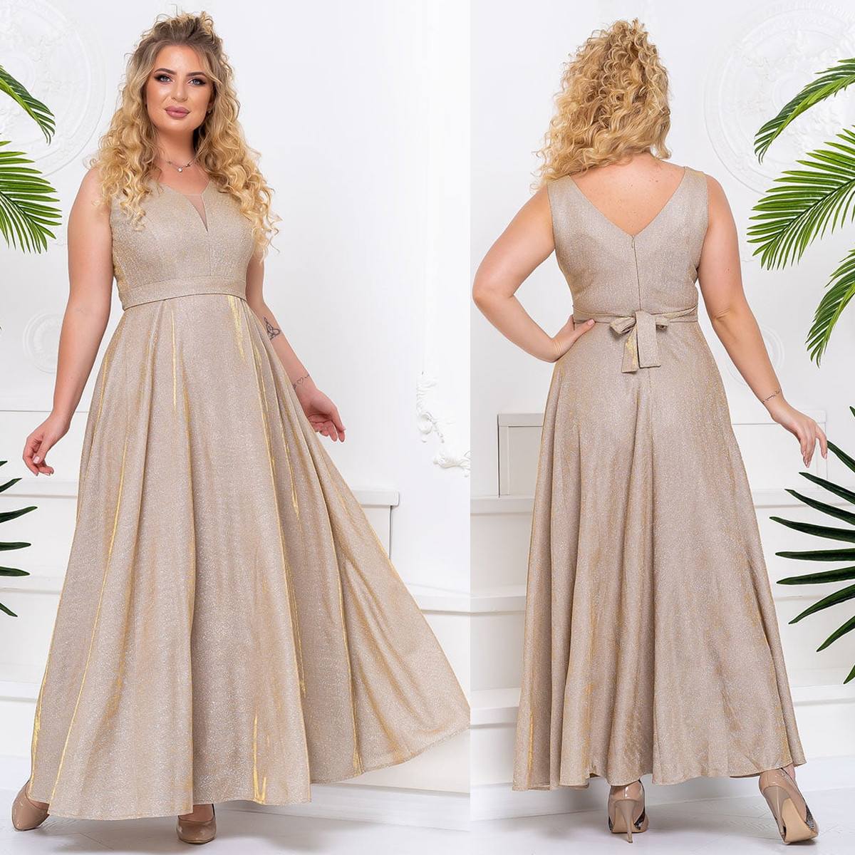 """Вечірні сукні кольору золота довгі БАТАЛ """"Блиск"""""""