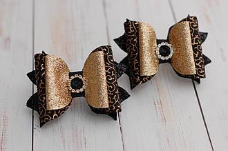 Бантики из экокожи золотисто-черные