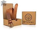Ремінь чоловічий шкіряний Betlewski® 2,9 х 0,4 (LIC30-0) - пісочний, фото 2