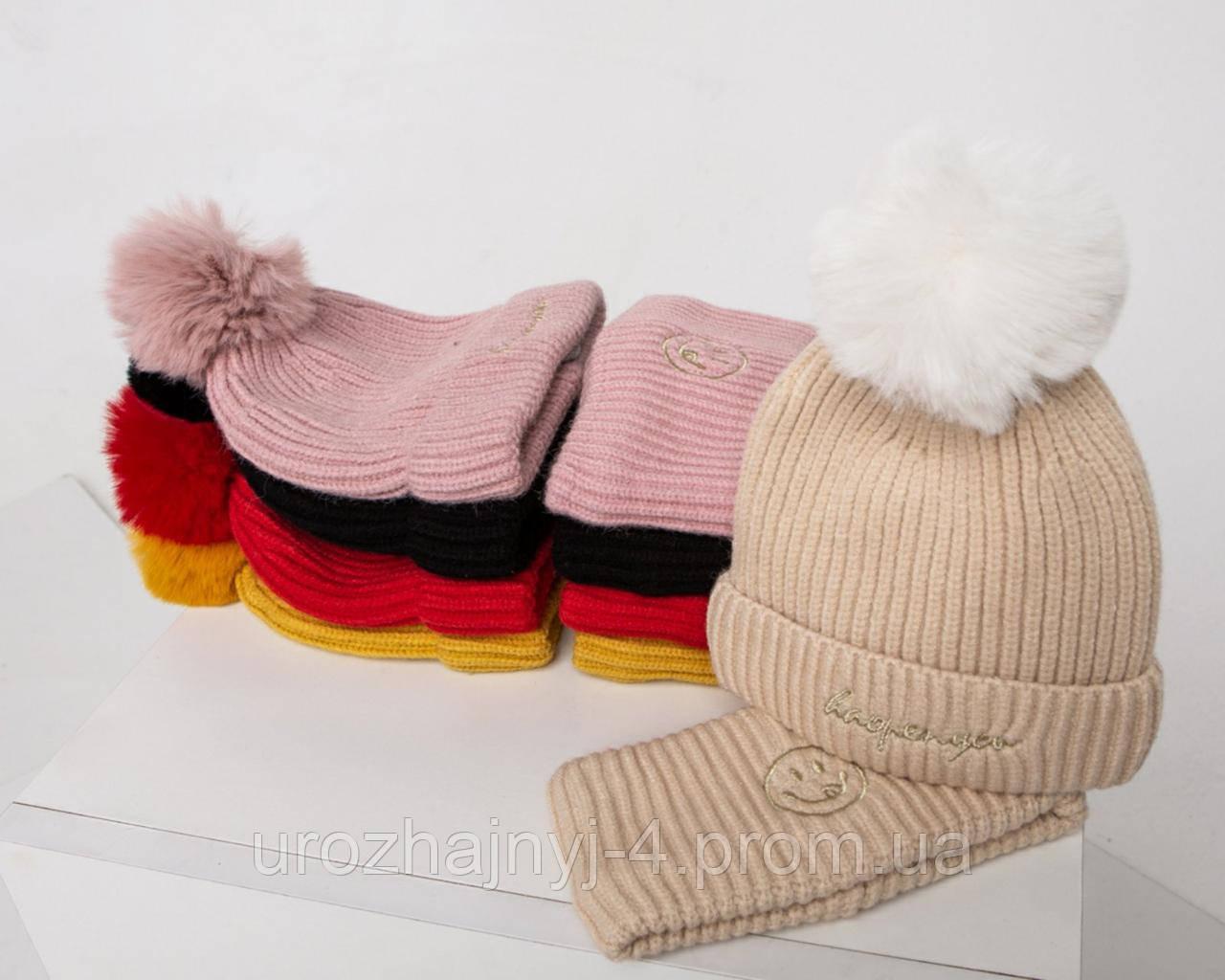 В'язаний набір шапка і хомут підкладка х/б код 1170 Glory-kids
