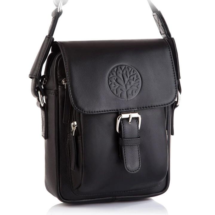 Чоловіча шкіряна сумка Betlewski 17 х 23 х 8 (TBG-YM-103) - чорна