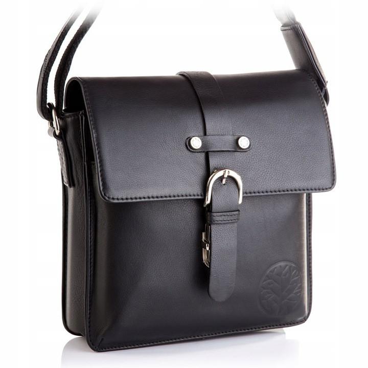 Чоловіча шкіряна сумка Betlewski 22 х 23 х 6 (TBG-YM-101) - чорна