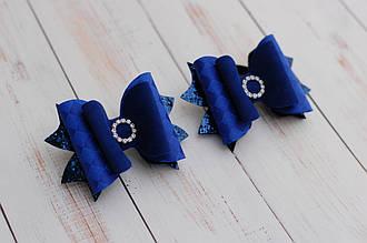Бантики из экокожи синие