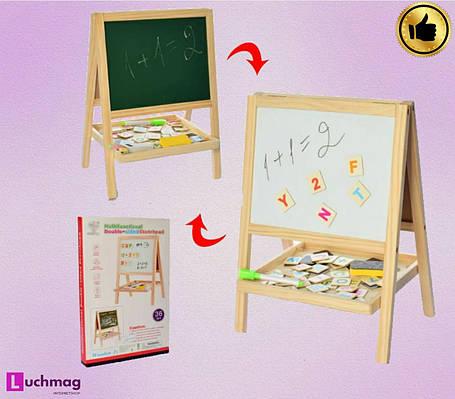 Мольберт двосторонній c дерев'яними магнітиками (картинками), фото 2