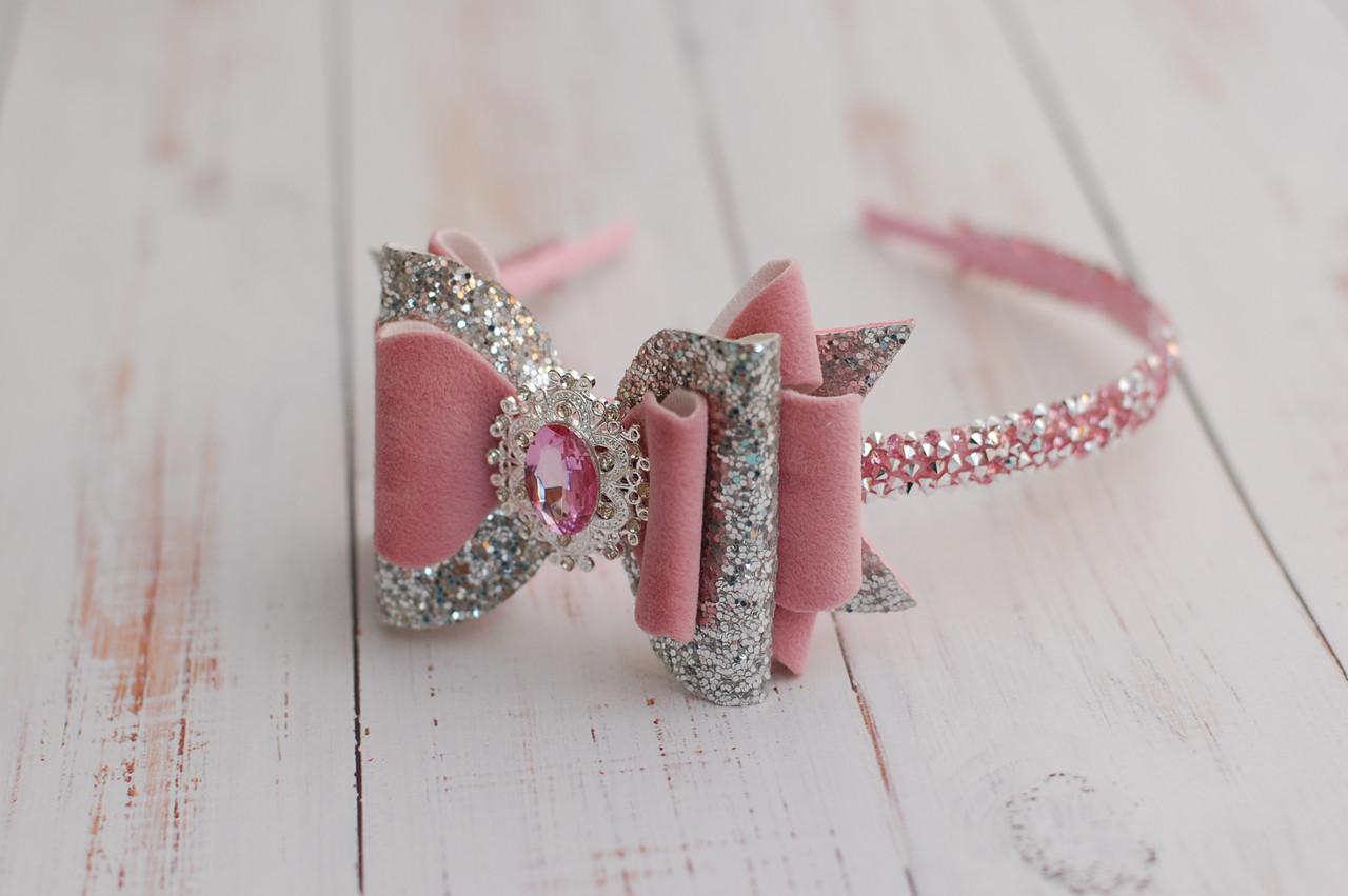 Обруч для волос / ободок для волос розово-серебристый с бантом для девочки в школу